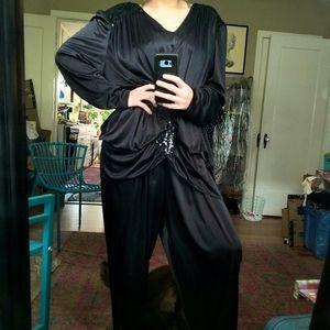 VTG Black Sequined Plus-Size 80s Jumpsuit